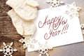 Christmas card with message happy new year isolate on the letter isolated on white decorated snowflakes and mittens Stock Image