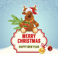 Christmas card with moose and decorations Royalty Free Stock Photography