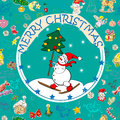 Christmas card over pattern Royalty Free Stock Images