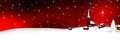 Christmas Card - Panoramic Snowy Mountain Village Banner. Royalty Free Stock Photo