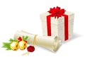 Christmas card with paper scroll gift and bells wishlist Royalty Free Stock Photo