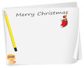 A christmas card with a pencil a sharpener and a sock illustration of on white background Stock Photos