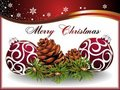 Christmas card with pinecone and balls Royalty Free Stock Photography