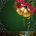 Christmas card with pinecone and bells Stock Image