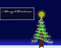 Christmas card postcard with a decorated tree on blue gradient background Royalty Free Stock Photo