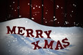 Christmas Card With Red Letters Merry Xmas, Snow, Snowflakes