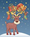 Christmas card with reindeer vector cartoon illustration Stock Photo
