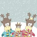 Christmas card with Reindeer. Vector illustration Royalty Free Stock Photos