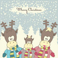 Christmas card with Reindeer. Vector illustration Royalty Free Stock Photo