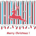 Christmas  card with reindeert and festive garland Stock Images