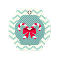 Christmas card with ribbon and two candy canes Royalty Free Stock Photo