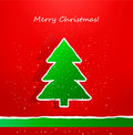 Christmas card with ripped paper tree. Vector Stock Image