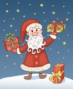 Christmas card with santa claus cartoon illustration Royalty Free Stock Images