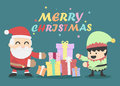 Christmas card with santa claus and elves eps Stock Photos