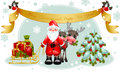 Christmas card. Santa claus with gifts and tree.