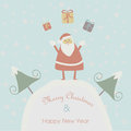 Christmas card with santa claus and happy new year greeting cute and gifts in cartoon style Stock Image