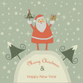 Christmas card with santa claus and happy new year greeting cute holding tree and giftbox Stock Image