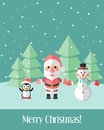 Christmas card with santa claus and penguin and snowman green holiday winter landscape characters Stock Photos