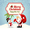 Christmas card with santa claus and snowman Stock Images