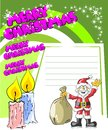 Christmas card with santa claus and two candles a white space to write a personalized greeting Stock Image