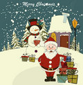 Christmas card with Santa and snowman Stock Photo