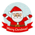 Christmas Card With Santa. Vec...