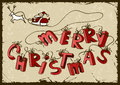 Christmas card with santas sleigh and tied behind hand drawn letters merry Stock Photography