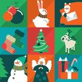 Christmas card set icons characters attributes are located on the squares of different colors Stock Photo