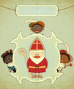 Christmas card with Sinterklaas Stock Photography