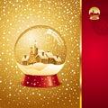 Christmas card with snow globe