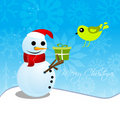 Christmas card with snowman and bird Royalty Free Stock Photos