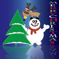 Christmas card with snowman and reindeer Royalty Free Stock Image