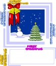 Christmas card with a snowman and tree blank space to write your personalized greeting Royalty Free Stock Photography