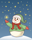 Christmas card with snowman vector cartoon illustration Stock Image