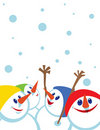 Christmas card with snowmans Stock Images