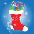 Christmas card sock full of gifts Royalty Free Stock Photo
