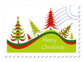Christmas card stamp Royalty Free Stock Image