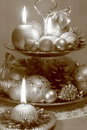 Christmas card stock photos retro xmas decoration balls ornaments and candles on wooden background Stock Photos