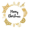 Christmas card with Stylish gold Christmas Royalty Free Stock Photo
