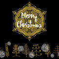 Christmas card with Stylish gold Merry Christmas Royalty Free Stock Photo