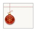 Christmas card template bauble on white Royalty Free Stock Photos