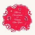Christmas card template with christmas decorations made from snowflakes