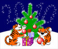 Christmas card with tigers. Royalty Free Stock Image