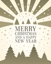 Christmas card with traditional trees and stars relating to the star of bethleham with bold upper case text merry Royalty Free Stock Photography