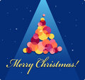 Christmas card with a tree beautiful merry greeting made of multicolored balls almost square no transparencies Royalty Free Stock Photography