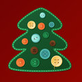 Christmas card tree dressed with buttons illustration for a greeting Stock Photo