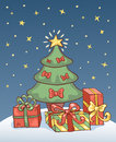 Christmas card with tree holiday vector cartoon illustration Royalty Free Stock Images