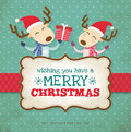 Christmas card two little reindeers Stock Photography