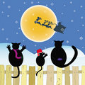 Christmas card vector with cats family  Stock Photos