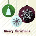 Christmas card vector in flat design and retro colors Royalty Free Stock Photo